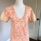 Pre-owned Marc by Marc Jacobs 100% Cotton Cream Orange V-Neck Top SZ S