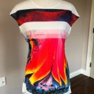 Pre-owned ZARA Collection W&B White Multi Print Long Sleeve T-Shirt SZ L