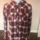 EUC DELIA's Flannel Plaid Snap Front 100% Cotton Hoodie SZ XL Juniors Teens