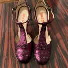 Pre-owned BRUNO FRISONI Purple Leather High Heel Mary Jane SZ 36/US 6