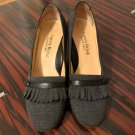 EUC TARYN ROSE Gray Fabric Trimmed with Black Leather Pumps SZ IT 38.5/US 8.5