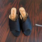 "EUC SAM EDELMAN ""Stanley"" Black Fabric Criss Cross Slides Chunky Heel SZ 8.5"