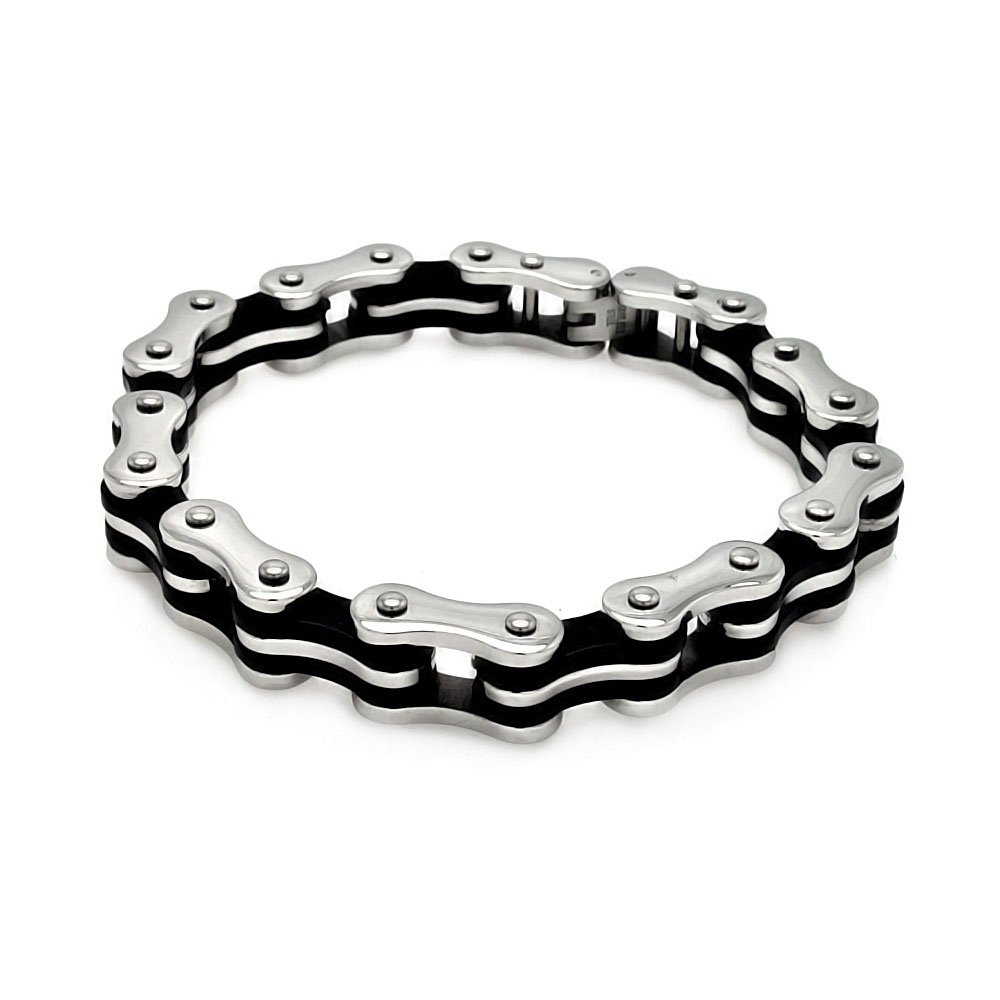 Stainless Steel Tow tone Motorcycle Bike Chain Bracelet 8.25 inches width: 11.2mm