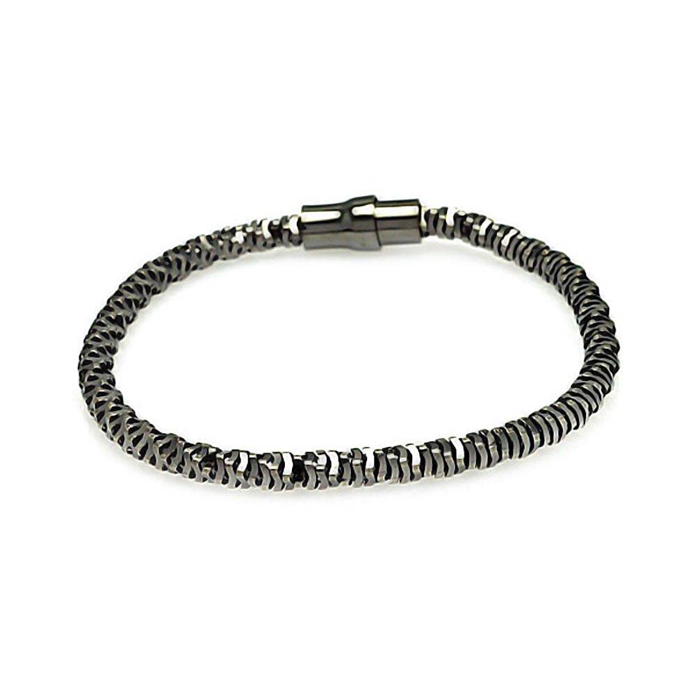 925 Sterling Silver Black Italian Bracelet Settings 567-itb00005blk on Sale