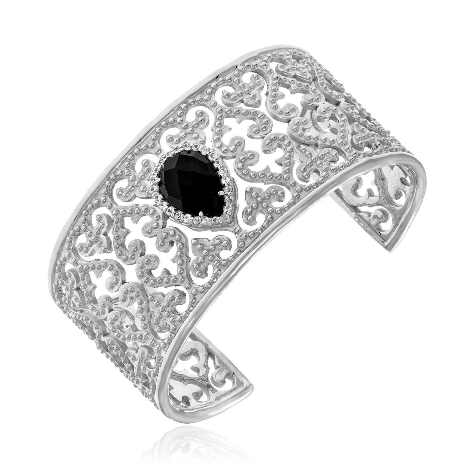 Womens 925 Sterling Silver Open Byzantine Cuff with Black Onyx and White Sapphires