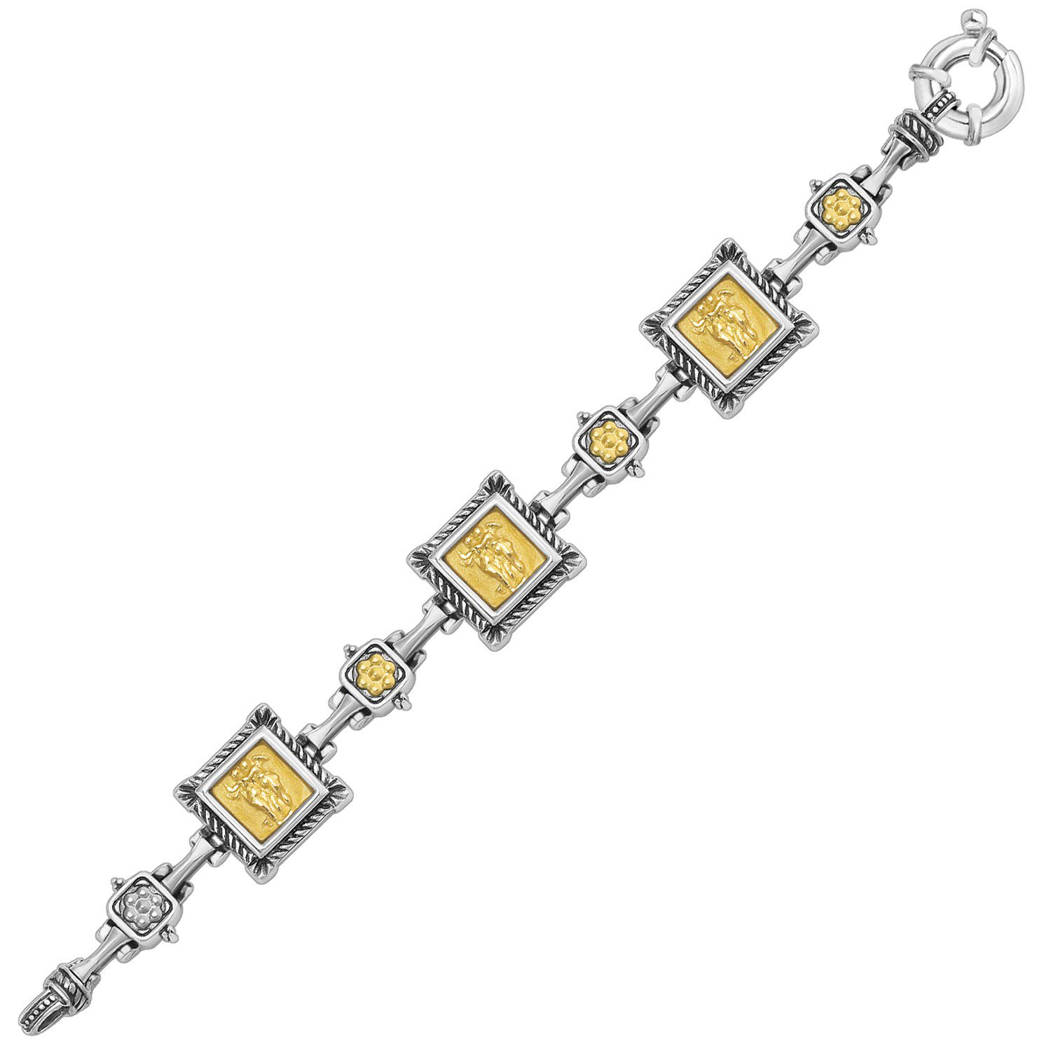925 Sterling Silver 18K Yellow Gold Bracelet with Relief Style Square Links 7.5 inches