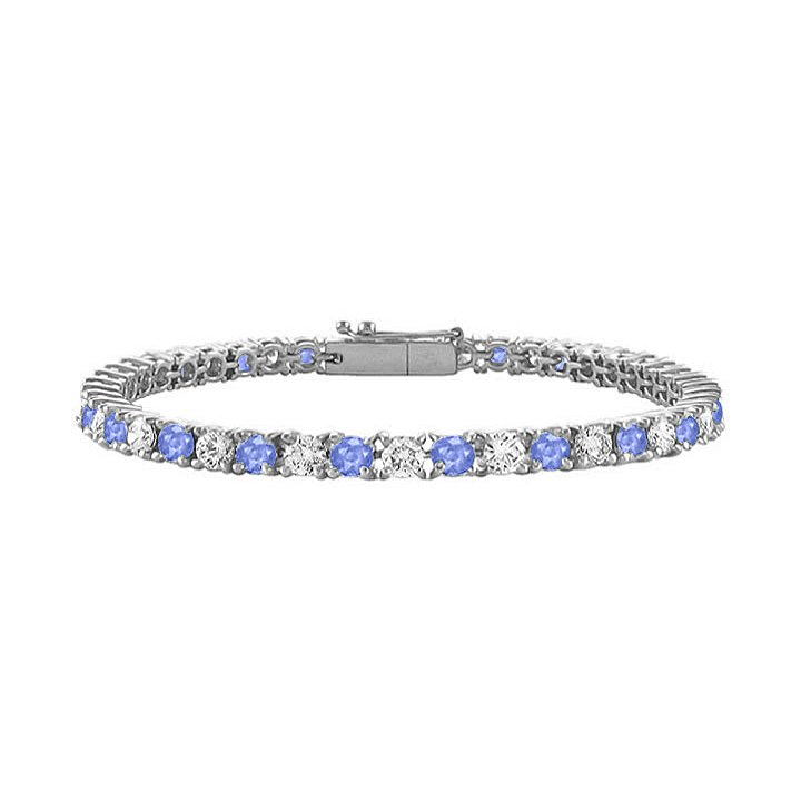 Cubic Zirconia Tennis Bracelet with 1.00 CT TGW on 14K White Gold and Created Tanzanite
