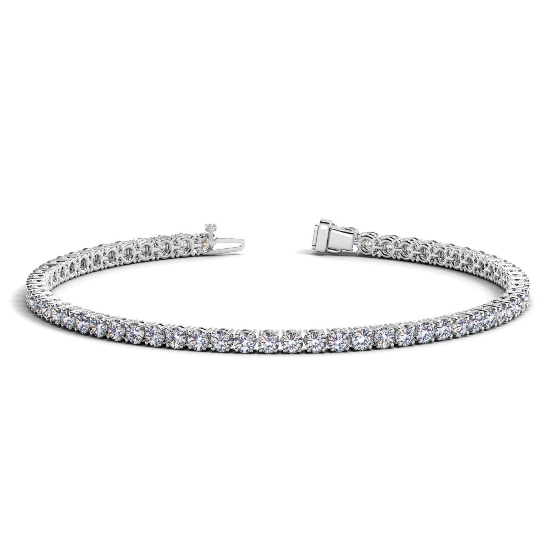 Unique 14K White Gold (5 ct. tw.) Round Diamond Tennis Bracelet 7 inches
