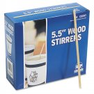 "Royal Wood Wooden Coffee Stir Stirrers Sticks 5.5"" Woodgrain, 1000 Stirrers/Box"