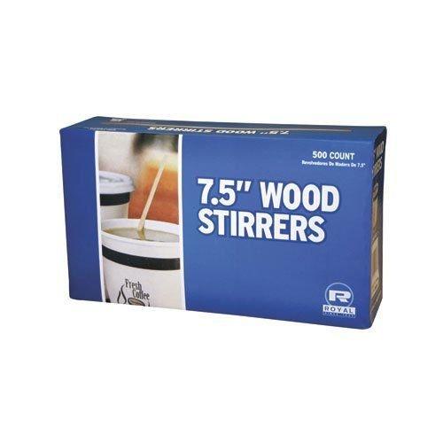 "Royal Wood Wooden Coffee Stirrers, 7.5"" Long, Woodgrain - 500 Stirrers/Box"