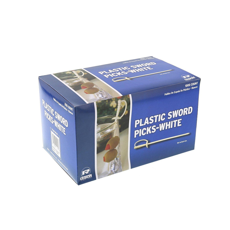 "Royal Paper White Plastic Sword 3.25"" Food Picks - 1000/Box"