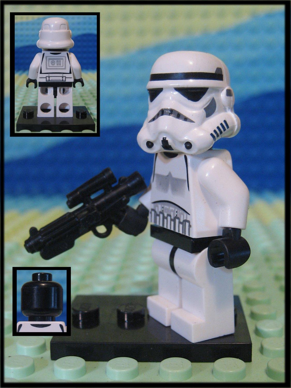 Genuine Authentic Star Wars Stromtrooper Lego Minifigure + Custom Blaster E-11