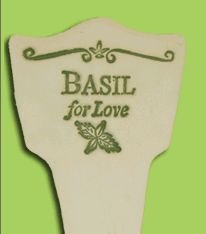 'BASIL FOR LOVE' Garden Lore MARKER Stoneware