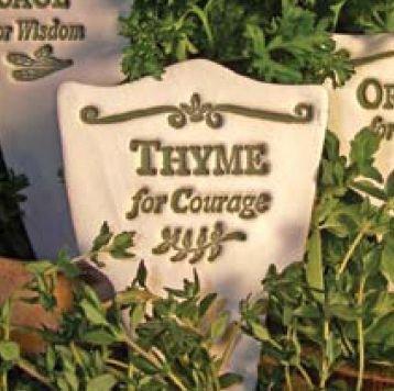 'THYME FOR COURAGE' Garden Lore MARKER Stoneware