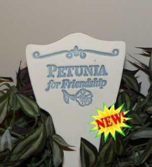 'PETUNIA for Friendship' Garden Lore MARKER Stoneware