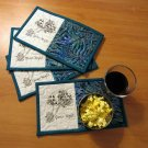 GAME NIGHT **set of 4** HANDMADE QUILTED MUG RUGS SNACK MATS MINI QUILTS UNIQUE
