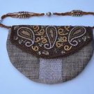Khaki Jute Zari Sling Embroidered Hand Bag By Teknowear
