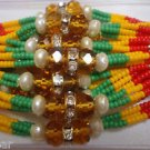 Tri Color Beaded Rakhi With Natural Pearls & Clear Crystals By Teknowear