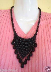 Beaded Tear Drop Heta Chinki Statement/Collar necklace in Black by Teknowear