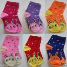 3 Pairs Assorted Kids Socks Size Ages 12-18 Months Cartoon/Animal print/Polkadot