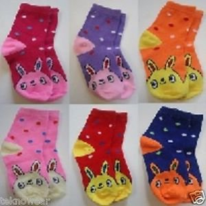 3 Pairs Assorted Kids Socks Size Ages 12-18 Months Cartoon/Animal print/Polkadot