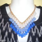 Teardrop Three Strand Statement/Collar Bib Necklace in Ruby/Red/White/Teal/Blue