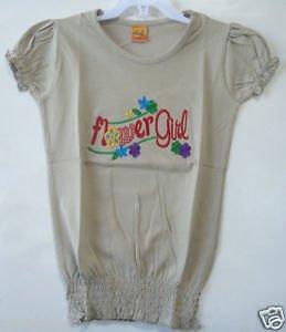 Activewear Apparel Folwer Girls' Basic Short Puff Sleeve Round Neck T-Shirt