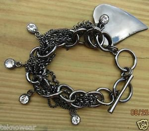 Heart Charm Twisted Chain Toggle Clasp Bracelet with Clear Crystals by Teknowear