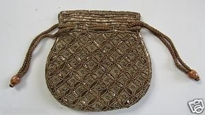 Hand Made Potli Bag Drawstring with Antique Embroidery and Beadwork by Teknowear