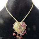 Love/Heart Shape Collar/Choker/Charm Necklace/Earrings Set in Ruby/Antique Gold