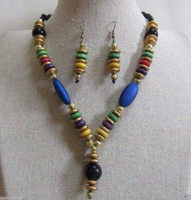 Tribal/Hobo/Strand/Layered/Beach Necklace/Earrings Set Multi Color by Teknowear