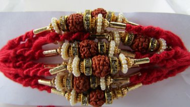 Aruna Rakhi With Rudraksh Beautifully Beaded With Clear Crystals By Teknowear