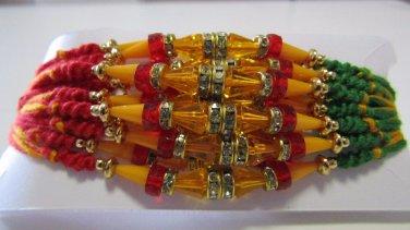 Vrushti Rakhi in Multi Beads & Clear Crystal Stones By Teknowear