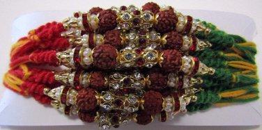 Rudraksh Rakhi With Multi Crystals Stones By Teknowear