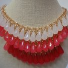 Teardrop 3-Tier Strand Statement/Collar Bib Necklace in Ruby/Red/White/Teal/Blue