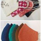 Face Mask Triple Layers 100% Cotton Natural Fiber Washable Reusable. Unisex