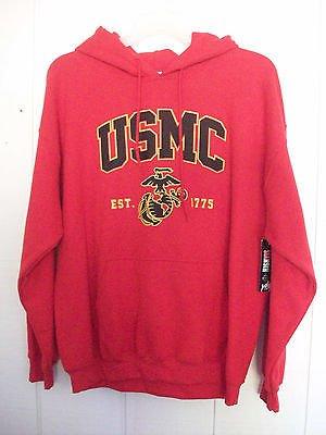 NEW USMC Red Pull Over Sweatshirt Hoodie Est 1775 Size LARGE - last one