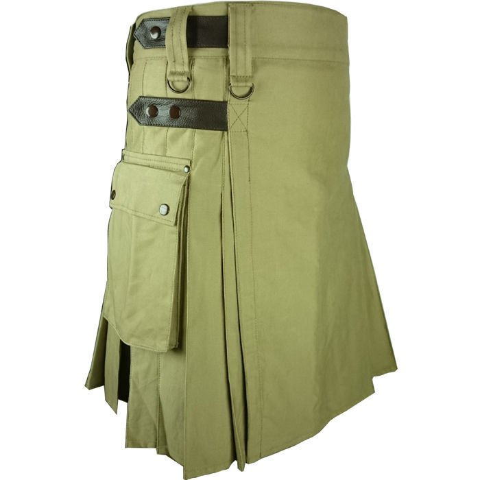 Handmade Olive Green Cotton Kilt Utility Leather Straps Fashion Kilt for Men Duty & Tactical kilt