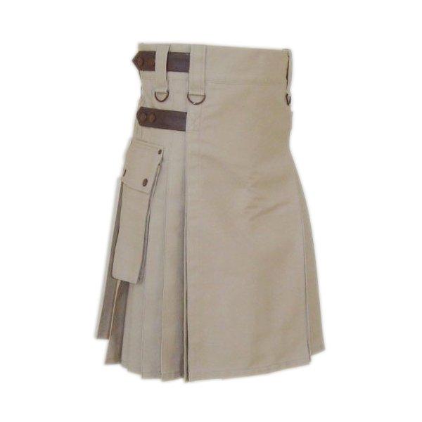 Khaki Cotton Utility Kilt Handmade Tactical kilt Custom Size Duty Kilt