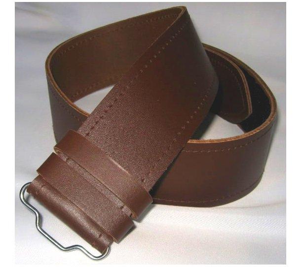 Scottish Highland Thick Brown Genuine Leather Kilt Belt without Buckle Custom Size