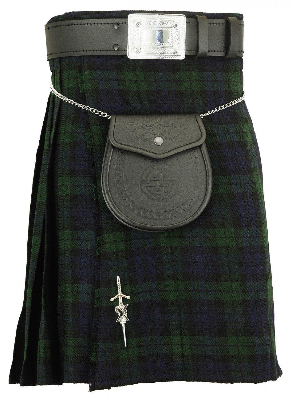 Black watch traditional tartan kilt highland acrylic skirt for 30 waist