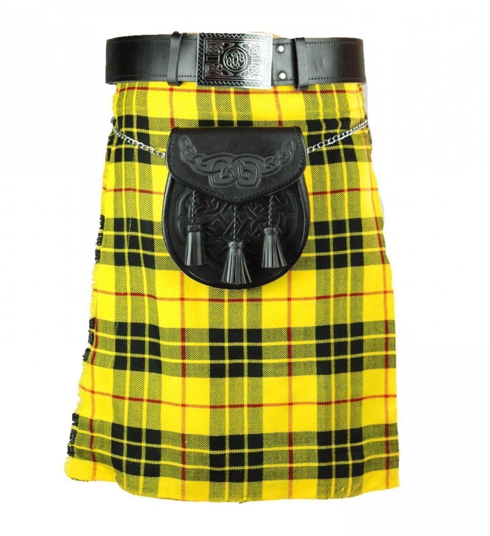 Deluxe Scottish Highland Utility Sports, Traditional Macleod of Lewis Tartan Kilts to Set 46Size