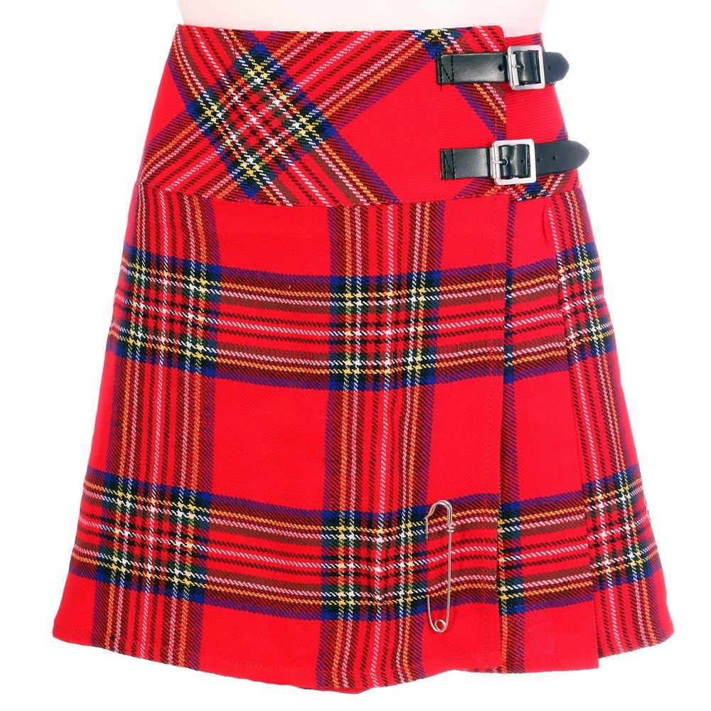 Scottish Royal Stewart Tartan Skirt Highland Mini Billie Kilt Mod Skirt Fit to Size 40