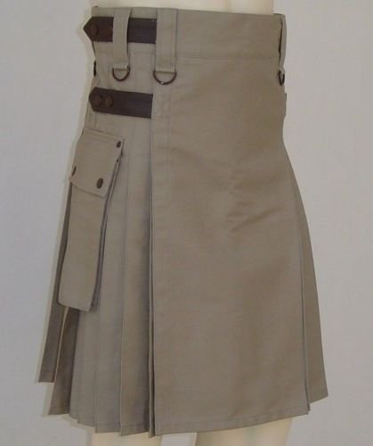 Khaki Cotton Utility Kilt Handmade Tactical kilt 28 Size Duty Kilt