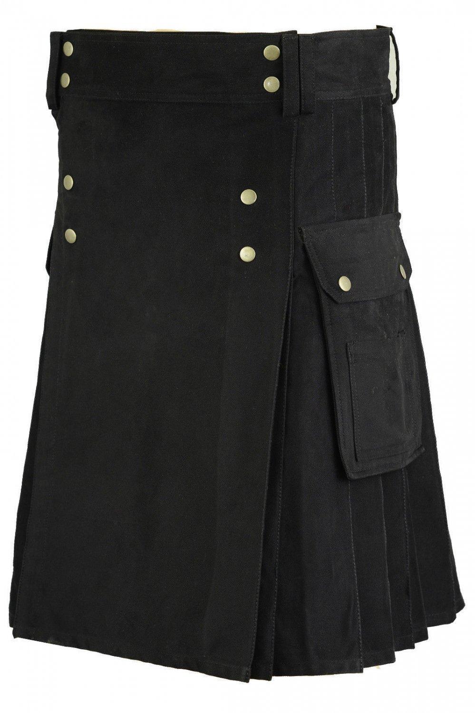 Gothic Black Cotton Outdoor Kilt for Men 28 Size Utility Kilt with Brass Material