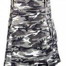 Waist 32 Army Gray Camo Utility Cotton Kilt Handmade Camo kilt with Big Cargo Pocket