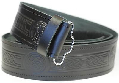 Kilt Belt Embossed (Celtic Knot) Real Black Leather Kilt Belt for Traditional Kilts 32 Size.