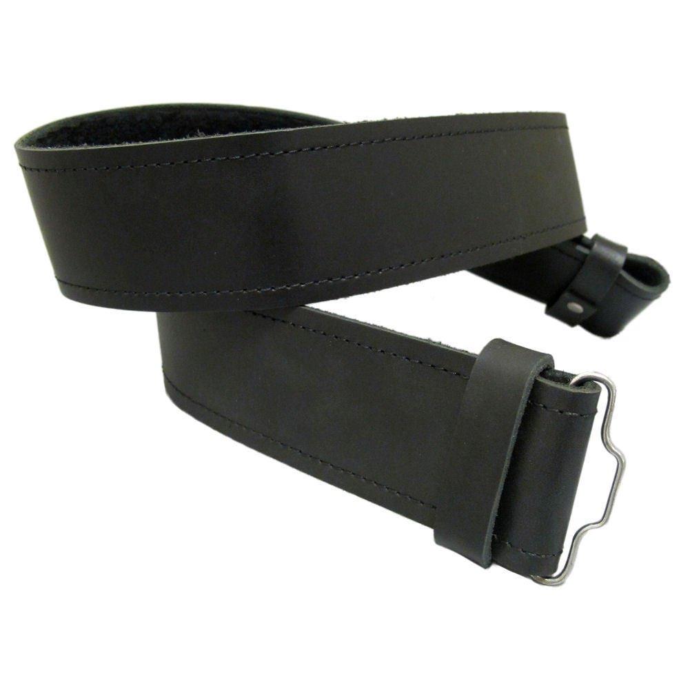 Pure Black Leather Kilt Belt 38 Size Thick Black Kilt Belt for Traditional & Utility Kilts