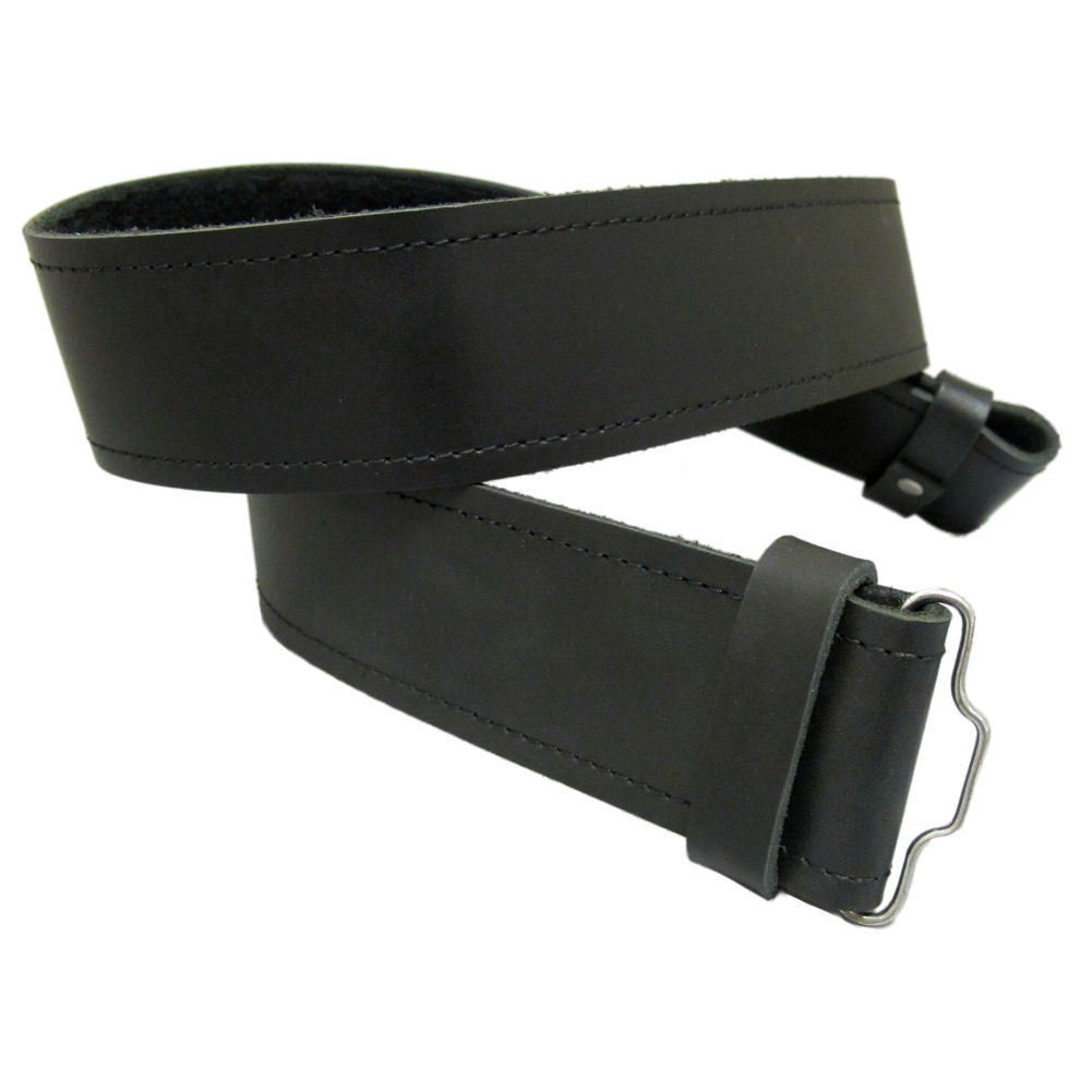 Pure Black Leather Kilt Belt 48 Size Thick Black Kilt Belt for Traditional & Utility Kilts