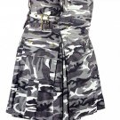 Waist 34 Army Gray Camo Utility Cotton Kilt Handmade Camo kilt with Big Cargo Pocket
